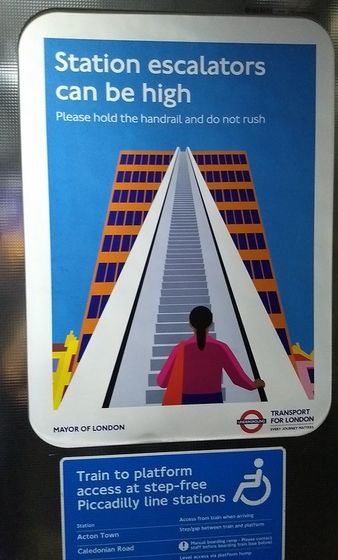 Escalator warning, London Underground