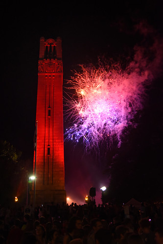 Belltower and fireworks at Packapalooza.