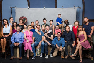 The cast of Merrily We Roll Along with director Maria Friedman
