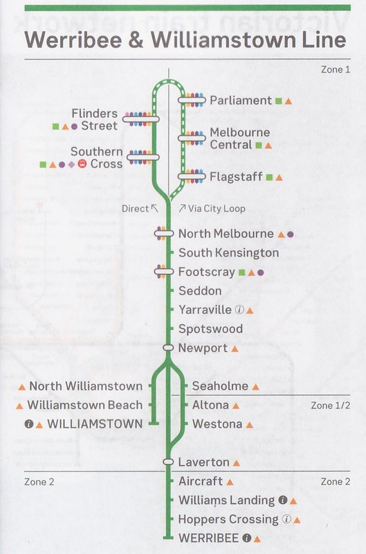 Werribee Williamstown timetable August 2017 - map