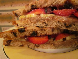 Almond Butter and Strawberry Sandwich