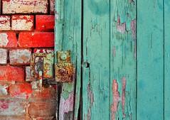 green door, red brick