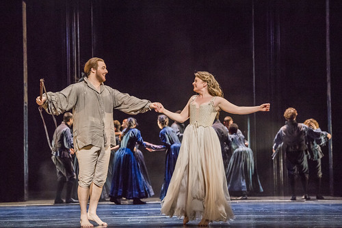 Mauro Peter as Tamino and Siobhan Stagg as Pamina In Die Zauberflöte, The Royal Opera Season 2017/18 © ROH 2017. Photograph by Tristram Kenton.e-09-09-17-ROH-3179 MAURO PETER AS TAMINO, SIOBHAN STAGG AS PAMINA (C) ROH. PHOTO TRISTRAM KENTON