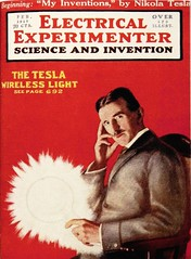 """Electrical Experimenter"" Vol. 6, No. 10  (Feb. 1919). Cover features Nikola Tesla holding his wireless light"