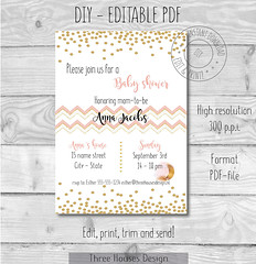 Printable and editable babyshower of bachelorette party Invites in PDF .