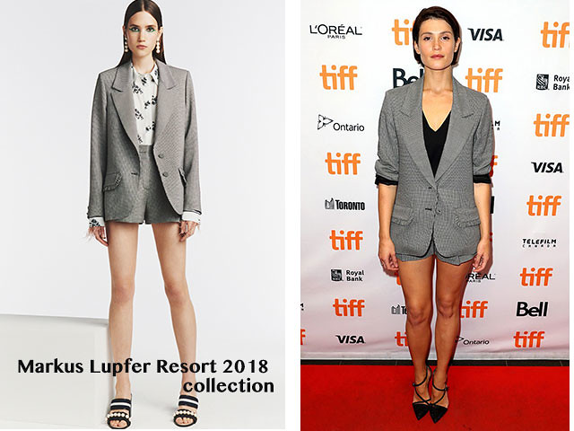 Markus-Lupfer-Resort-2018-collection-checked-shorts-checked-blazer-black-heels, Markus Lupfer checked blazer, Markus Lupfer short suits,  checked blazer, checked shorts, Markus Lupfer Resort 2018, Gemma Arterton  in Markus Lupfer Resort 2018, checked short suit, blazer