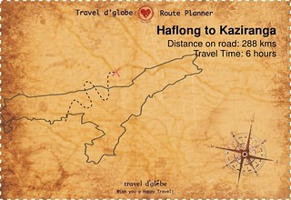 Map from Haflong to Kaziranga