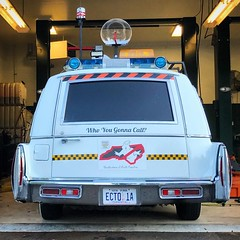 """Who you gonna call?"" I guess even the Ghostusters Ectoplasm station wagon breaks down every once in a while. #ghostbusters"