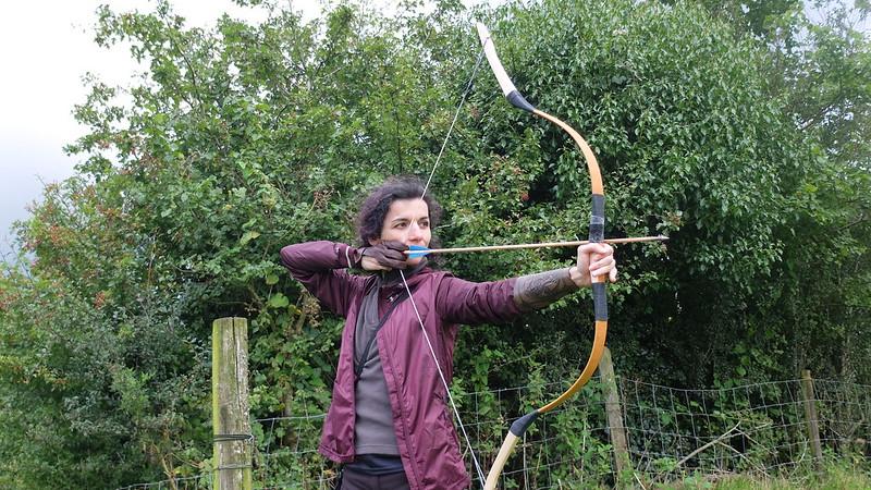 Ángela probando un arco húngaro