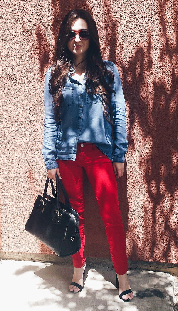cheryl deni red denim outfit