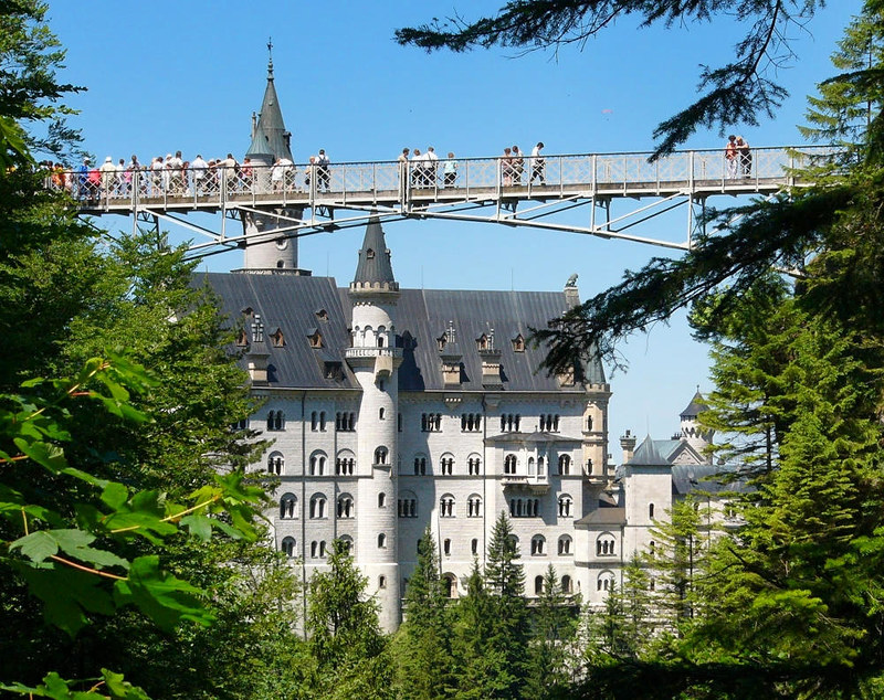View of Neuschwanstein Castle from Marienbrücke (Mary's Bridge). Credit Robert Böck