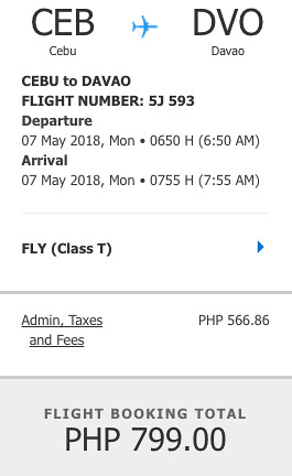 Cebu to Davao Cebu Pacific Promo May 7, 2018