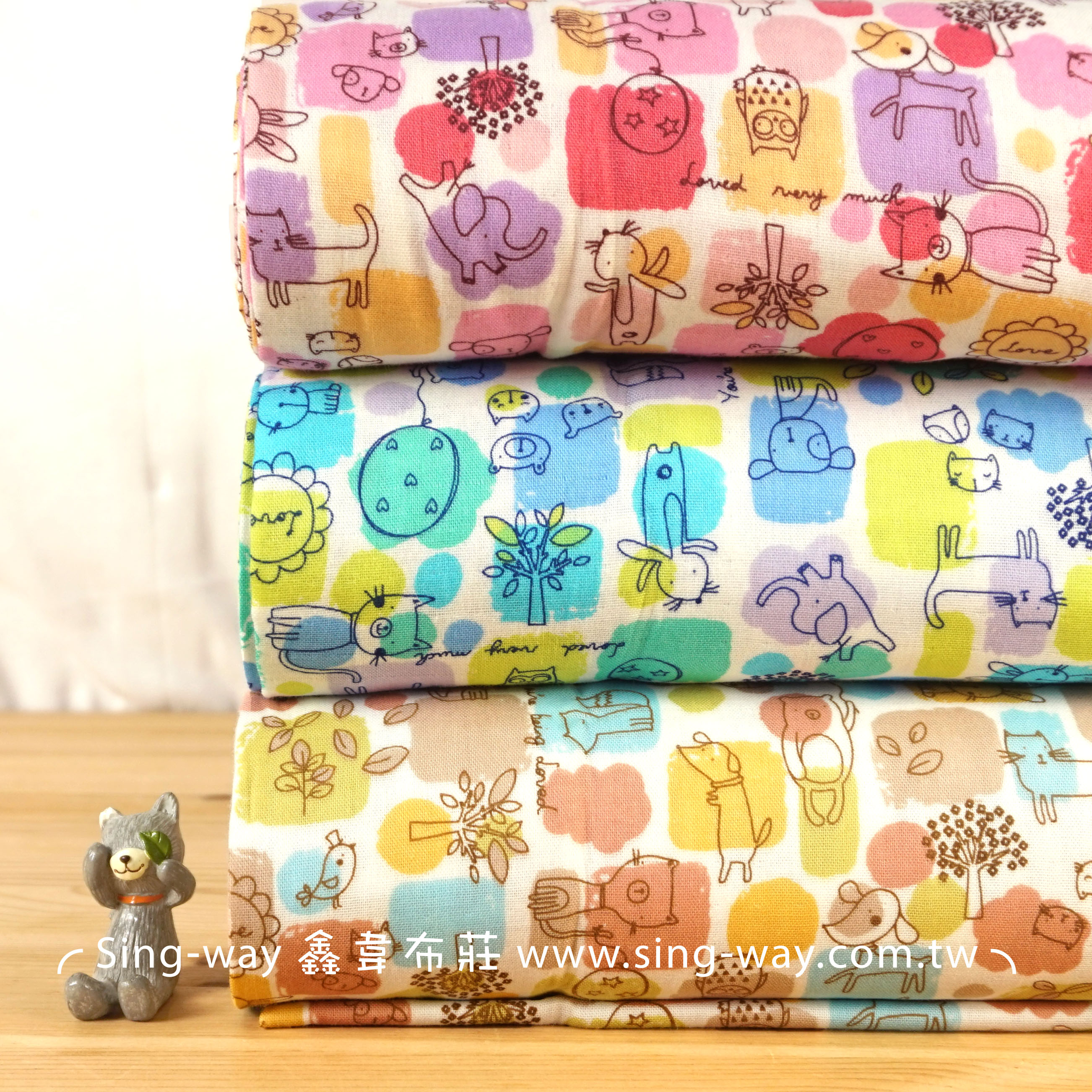 色塊可愛動物雙層紗 雙重紗 嬰兒紗布衣 手帕 口水巾 布料 二重紗 CA790071