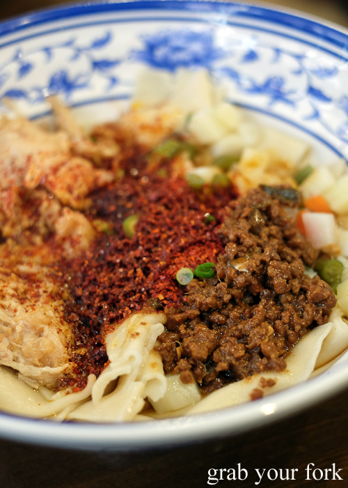 Noodles with stewed pork at Xi'an Biang Biang on Dixon Street in Chinatown Sydney