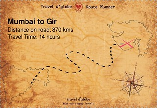Map from Mumbai to Gir