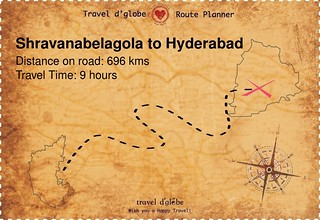 Map from Shravanabelagola to Hyderabad