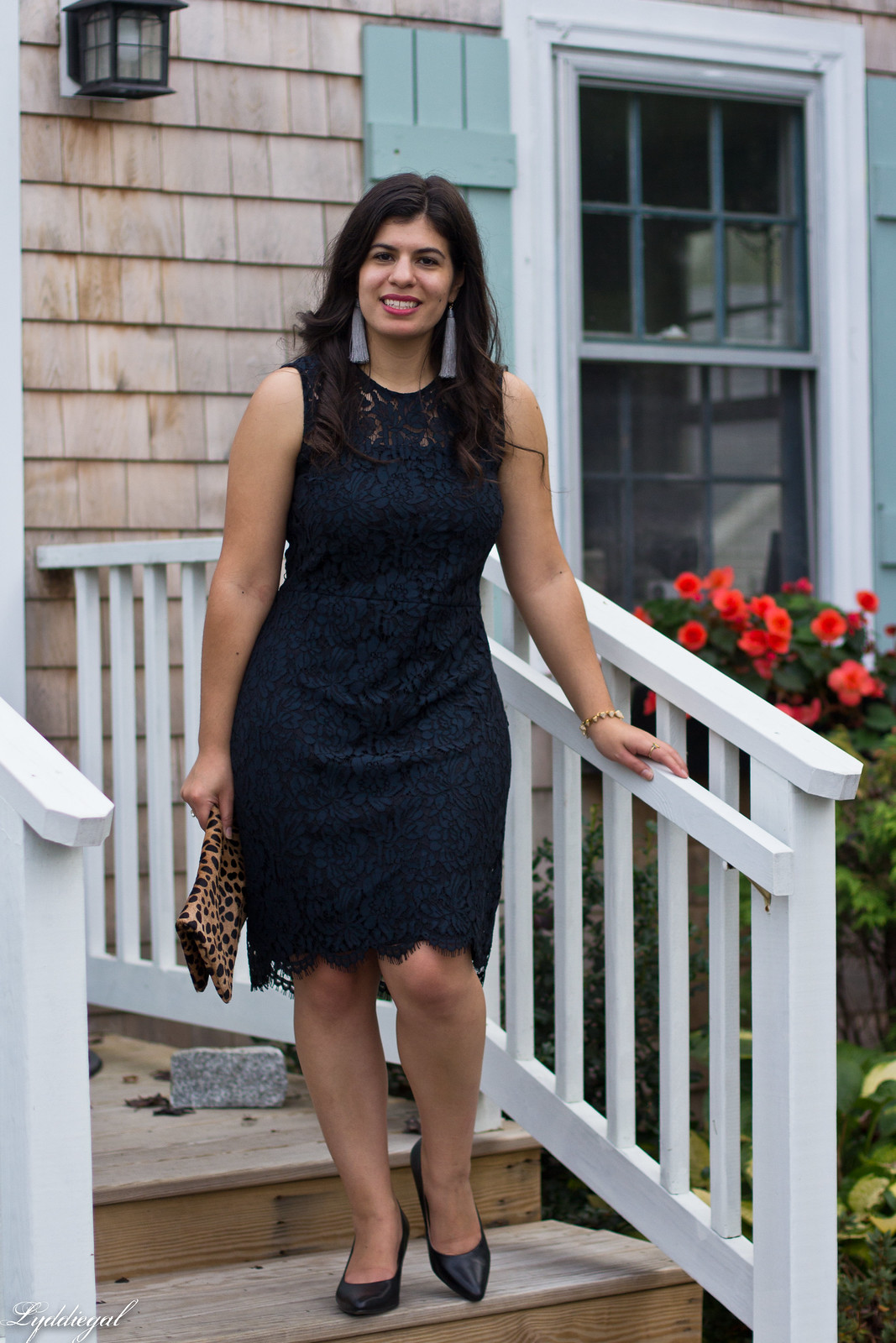navy lace dress, black pumps, leopard clutch, tassel earrings-13