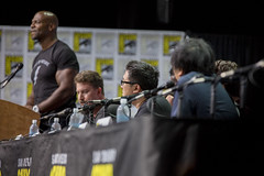 Moderator Terry Crews, Adam Wingard, Margaret Qualley, Roy Lee, Nat Wolff, Lakeith Stanfield and Masi Oka.