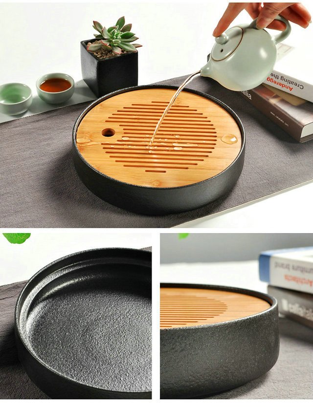 Free Shipping New Type Tea Tray Japanese Style for Easy Use Ceramic + Bamboo Multi sizes and colors for GongFu Cha Puerh Tea TieGuanYin Oolong M16122615