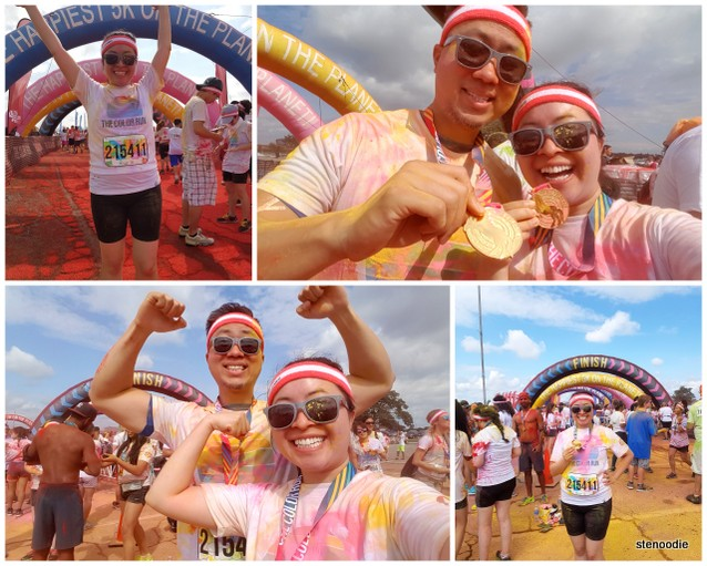 Color Run finish line victory poses