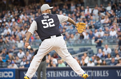 "CC ""Dub"" Sabathia delivers a pitch during the first inning. #PlayersWeekend"
