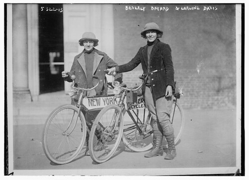 Beverly Bayard & Lorline Davis [with bikes] - news photo, 1920