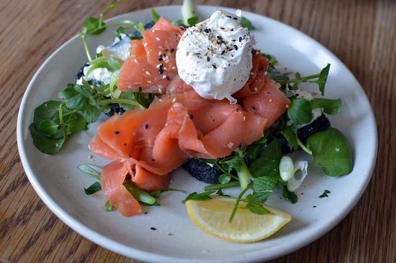 Smoked trout and poached egg on Nonie's gluten-free charcoal bread
