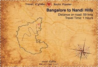 Map from Bangalore to Nandi Hills