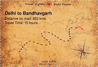 Map from Delhi to Bandhavgarh
