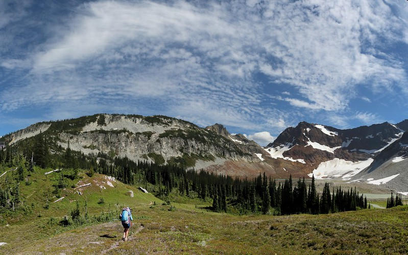 Panorama with cirrus clouds over Spider Gap as we search for a camp along the Lyman Lakes Trail
