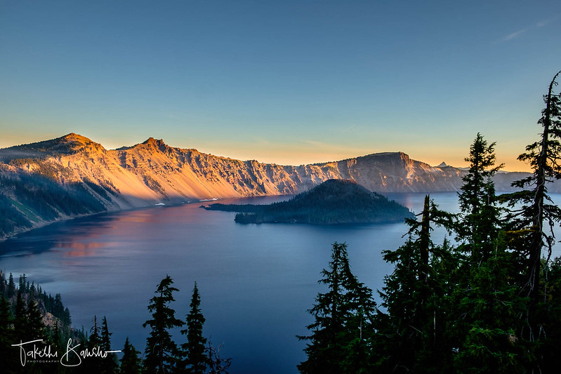 Morning light in Crater lake