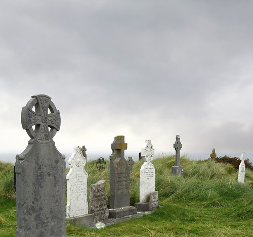 Celtic crosses in the cemetery on the Aran Island of Inisheer in Ireland