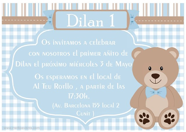 invitacion digital  Cumpleaños Osito teddy azul Merbo Events
