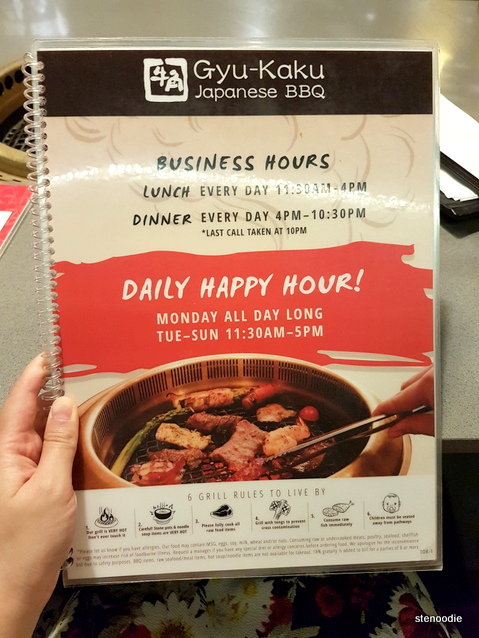 Gyu-Kaku Japanese BBQ menu cover
