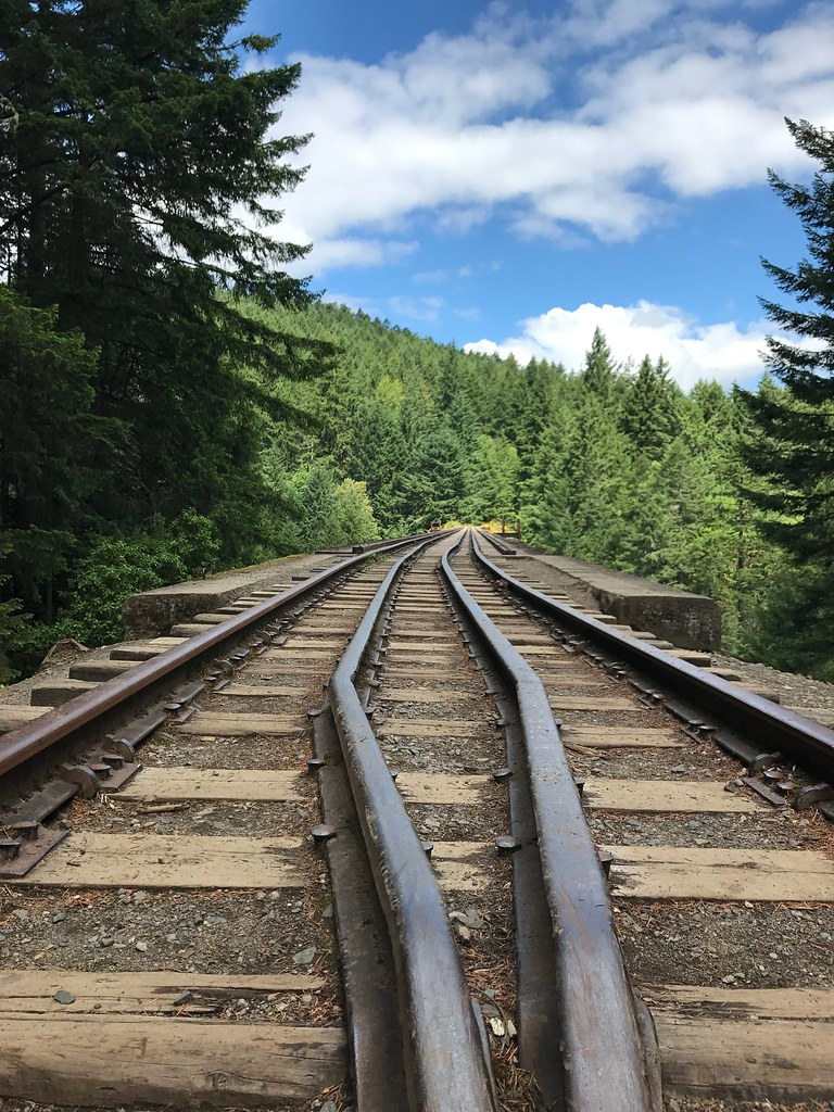 View over the trestle railway bridge in Goldstream Provincial Park