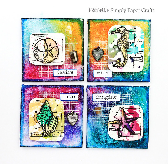 Meihsia Liu Simply Paper Crafts Mixed Media Mini Canvas Nautical Simon Says Stamp Tim Holtz