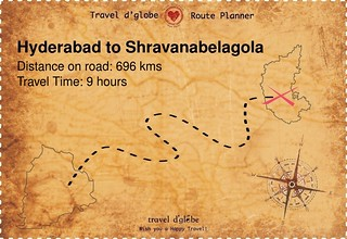 Map from Hyderabad to Shravanabelagola