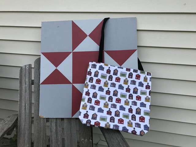 Barn Quilt pattern on bag from Society6