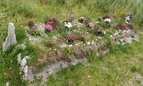 Flowered grave in the cemetery on the Aran Island of Inisheer in Ireland