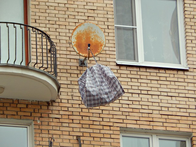 сумка на антенне | bag on the satellite dish -2