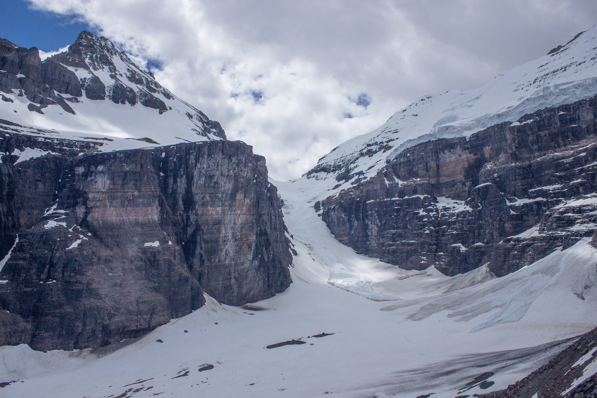 Victoria Glacier and Death Trap from Plain of Six Glaciers trail