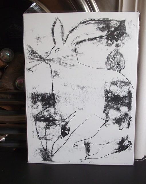 Big hare monoprint, Fujifilm FinePix JV110