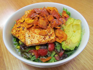 Avocado & Tofu Breakfast Bowl with Carrot Ginger Dressing
