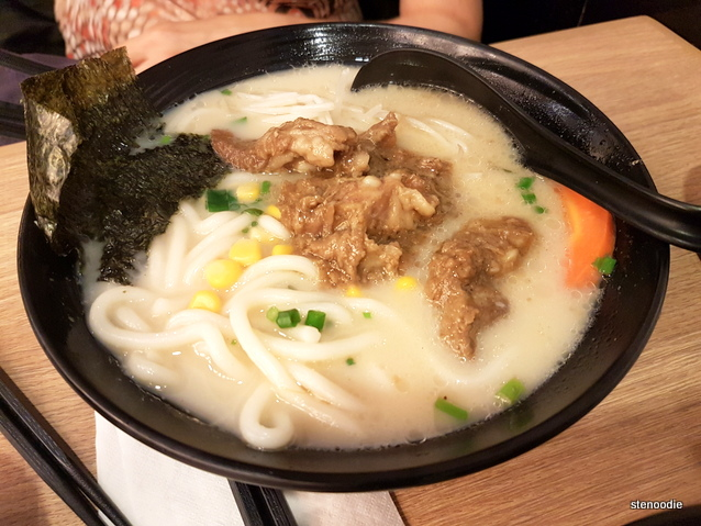 Pork Cartilage Bone with Udon in Pork Bone Soup (猪軟骨鳥冬)