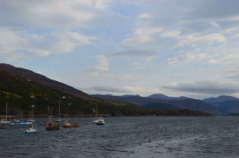 this is a picture of ullapool harbour with boats