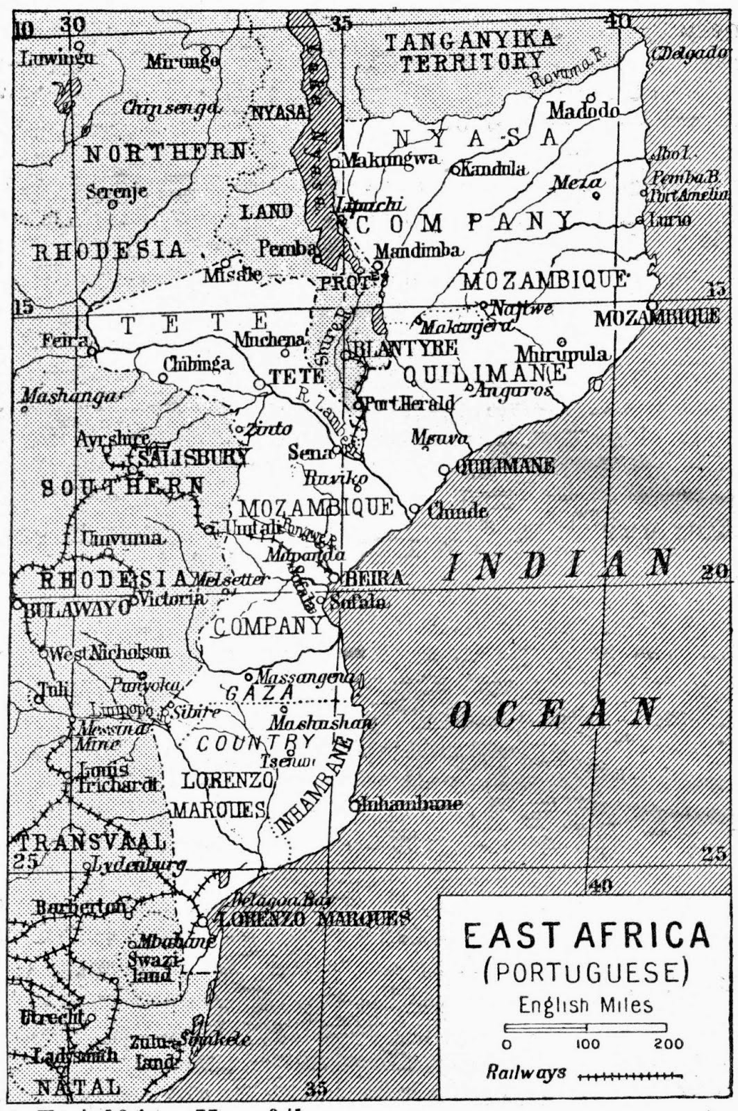 Map of Portuguese East Africa (1922)