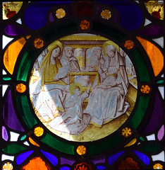 Holy Kinship: the infant Christ seated between Mary, Joseph, Joachim and Anne