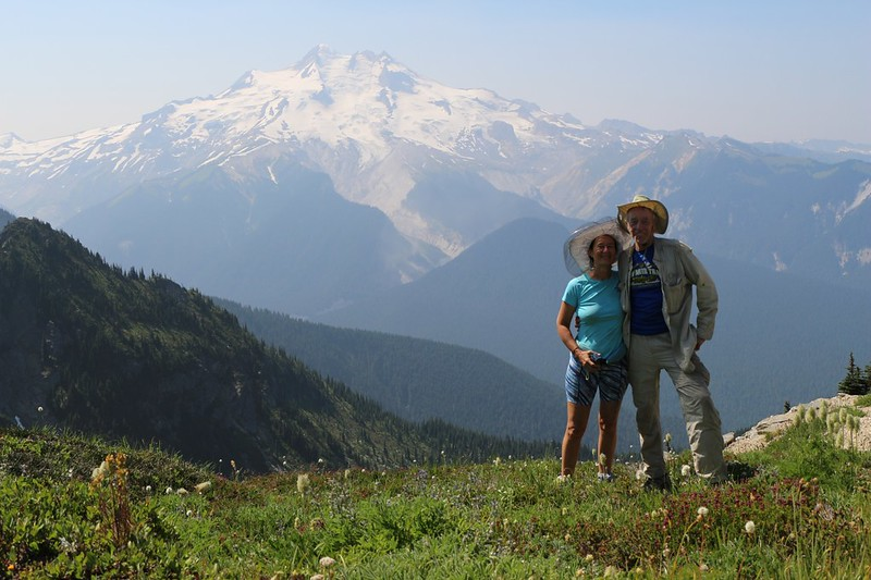 Vicki and I take a posed self-timer shot with Glacier Peak from the High Pass Trail