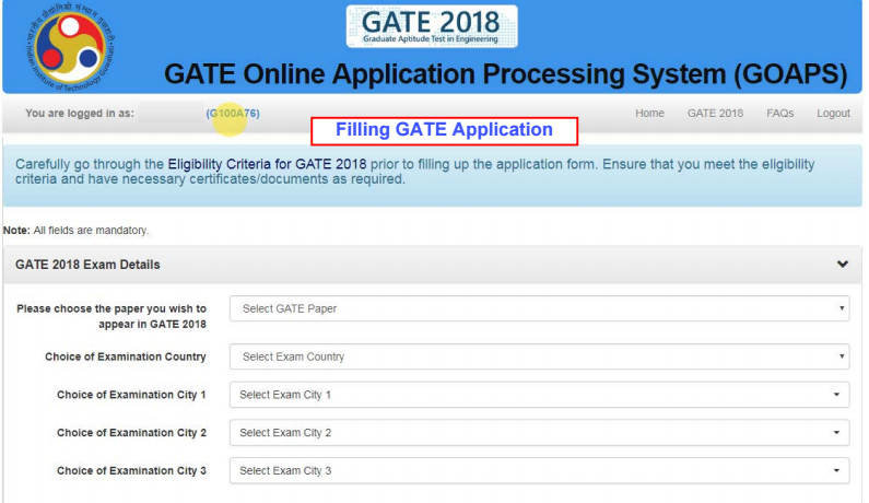 GATE 2018 Filling up the application form