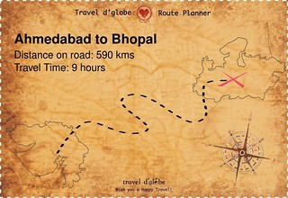 Map from Ahmedabad to Bhopal